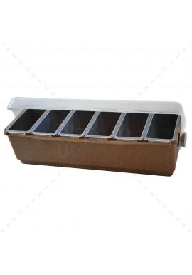 Boîte à Condiments Professionnel en eco Bois 6 Compartiments