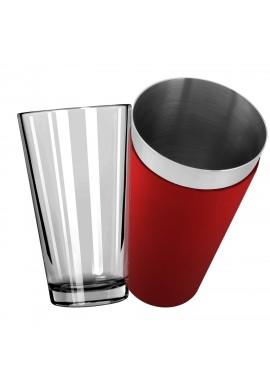 Mixing Glass avec Shaker Boston Vinyle Rouge