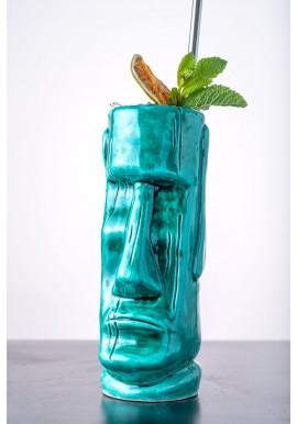 Tiki Mug Moai blue